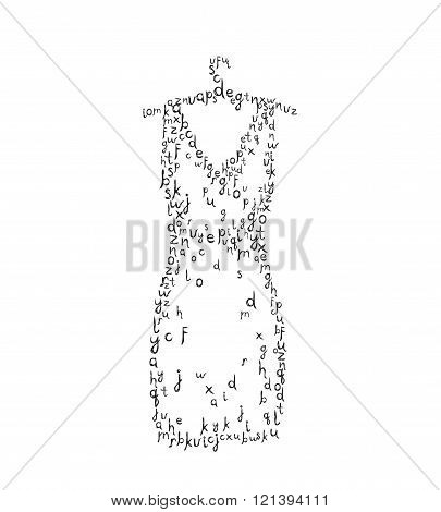 Woman Dress with letters on hanger.