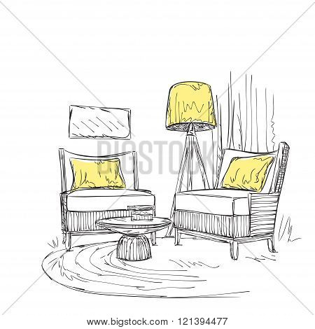 Place for reading with chair sketch