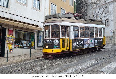 Vintage Tram or Streetcar Lisbon Portugal