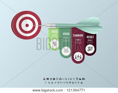 Vector infographic template. Business target marketing dart idea for presentation, graph, diagram. O