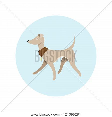Vector Image With Pretty Walking Italian Greyhound