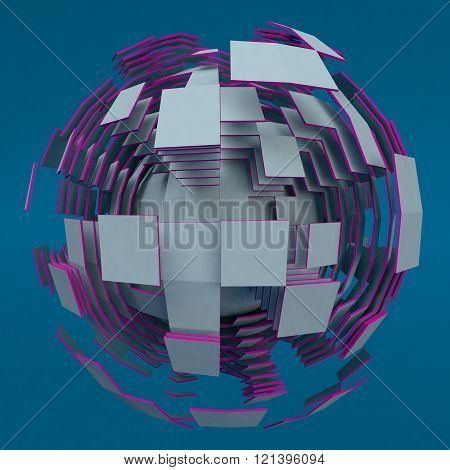 Abstract white sphere with purple edges