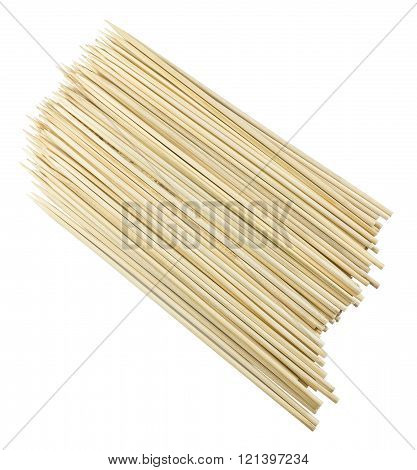 Kitchen Utensils Pile of Wooden Sticks or Wooden Skewers Used to Hold Pieces of Food Together.
