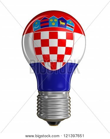 Light bulb with Croatian flag.  Image with clipping path