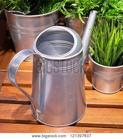 Watering Can or Watering Pot with Green Plants Watering Can Used to Water Plants by Hand.