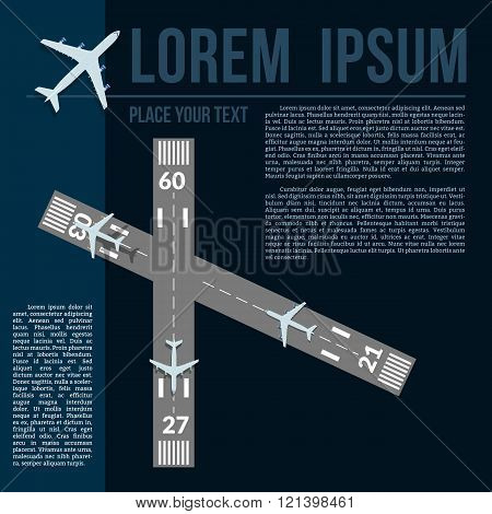 Vecor illustration with text template airplanes and runways.