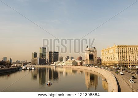 Krasnopresnenskaya Embankment In Moscow