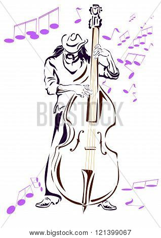 Jazz musician in a hat and contrabass