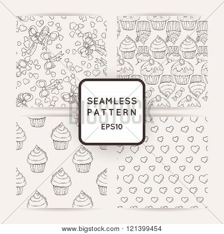 Set of Vector Candy and Lollipop Seamless Patterns