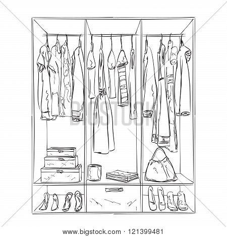 Hand drawn wardrobe sketch. Interior with clothes.