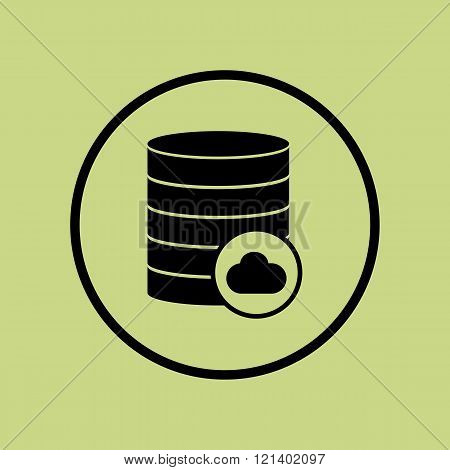 Database-cloud Icon, On Green Background, Circle Border, Dark Outline