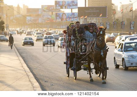 Horse Carriage In Cairo At Dusk