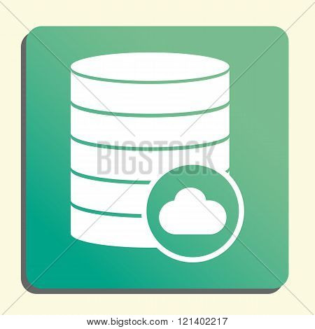 Database-cloud Icon, On Button Style Green Background, Yellow Light, Shadow