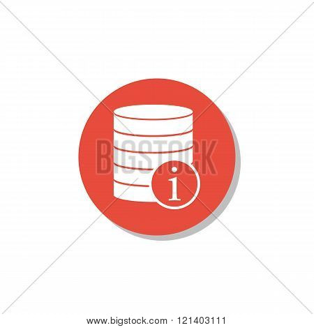 Database-info Icon, On White Background, Red Circle Border, White Outline