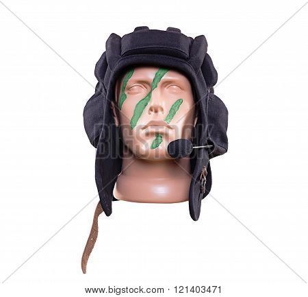 Dummy's head in green war paint in black Russian tank helmet