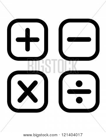 A set of black vector math symbols