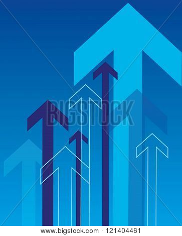 Vector Blue Overlapping Arrow Background and Elements