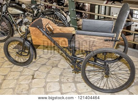 MOSCOWRUSSIA-DECEMBER 15- Voltman Westfalia- wheelchair Germany (1915) at the Museum of technique V.Zadorozhnyj on December 15;2015 in Moscow