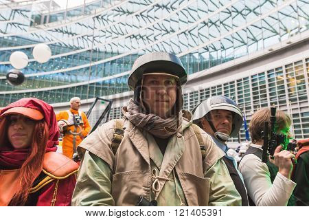 MILAN ITALY - MARCH 5: People of 501st Legion official costuming organization take part in the Star Wars Parade wearing perfectly accurate costumes on MARCH 5 2016 in Milan.