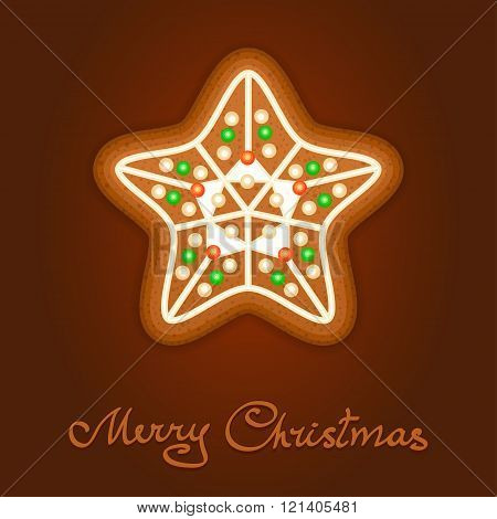 Gingerbread Christmas Star Decorated Icing. Holiday Cookie In Shape Of Christmas Star