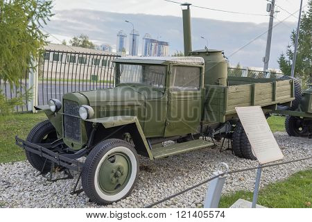MOSCOW RUSSIA- OCTOBER 7- Gaz-AA- Lorry (USSR)1932. Max.speedkm/h-70 in the Central Museum of the Great Patriotic War on October 7; 2015 in Mosco