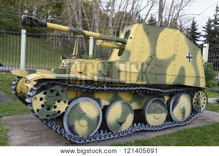 MOSCOW RUSSIA- OCTOBER 7- Marder III- Ausf.M self propelled gun(Germany )1943.Weightt-105 in the Central Museum of the Great Patriotic War on October 7; 2015 in Mosco