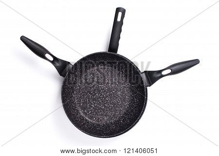 Set Of Cook Pan On White Background,top View Of New Empty Frying Pan.