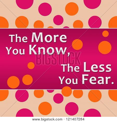 More You Know Less You Fear Pink Orange