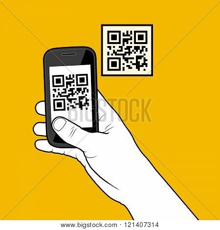 Hand With Smartphone Taking A Qr Code