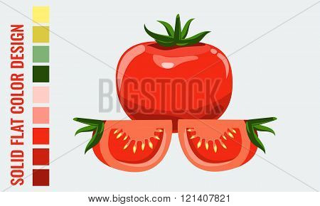 Fresh healthy red single and slice tomatoes with flat style.