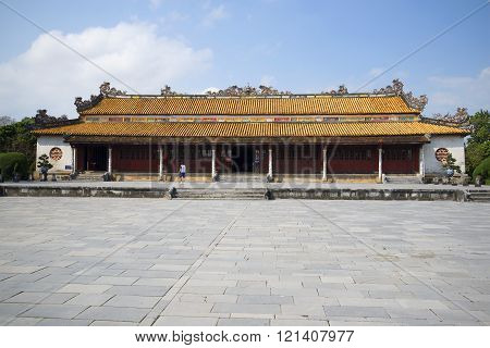 View of the imperial reception hall in the Forbidden City. Hue, Vietnam