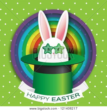 Origami Green Greeting card with Happy Easter