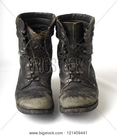 Black old military boots