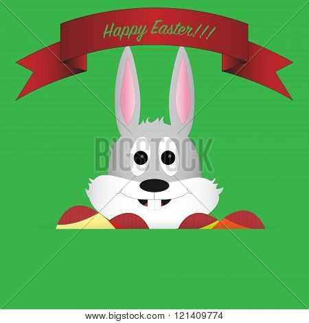 Head of easter bunny with cute expression on green background with colored eggs, red ribbon and gree