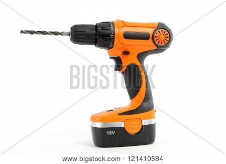 electric orange drill hammer isolated on white