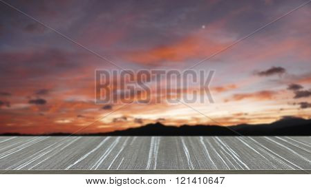 Empty Wooden Table With Mountain And Sky At Dawn Blur Background