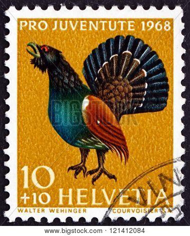 Postage Stamp Switzerland 1968 Capercaillie, Tetrao Urogallus, B