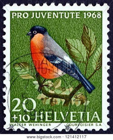 Postage Stamp Switzerland 1968 Bullfinch, Small Passerine Bird