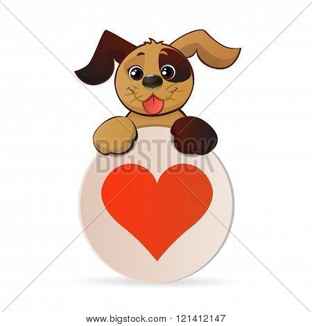 Brown  Puppy Hold Banner With Heart.
