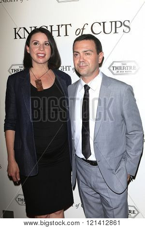 LOS ANGELES - MAR 1: Beth Dover, Joe Lo Truglio attends the Premiere of Broad Green Pictures' 'Knight of Cups'  at The Theatre at Ace Hotel  on March 1, 2016 in Los Angeles, California