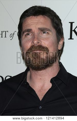 LOS ANGELES - MAR 1: Christian Bale attends the Premiere of Broad Green Pictures' 'Knight of Cups'  at The Theatre at Ace Hotel  on March 1, 2016 in Los Angeles, California