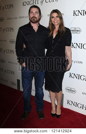 LOS ANGELES - MAR 1: Christian Bale, Sibi Blazic attends the Premiere of Broad Green Pictures' 'Knight of Cups'  at The Theatre at Ace Hotel on March 1, 2016 in Los Angeles, California