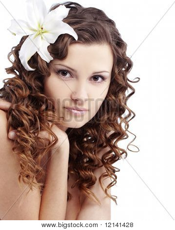 Portrait of very cute young pure woman over white