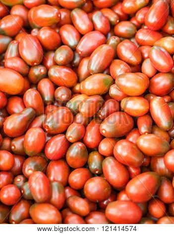 Red natural tomatoes in the basketful / Fresh organic tomatoes background texture. close-up. Selective focus.
