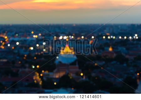 Abstract blurred bokeh lights, golden mount temple
