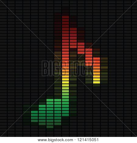 Music Note On Equalizer.