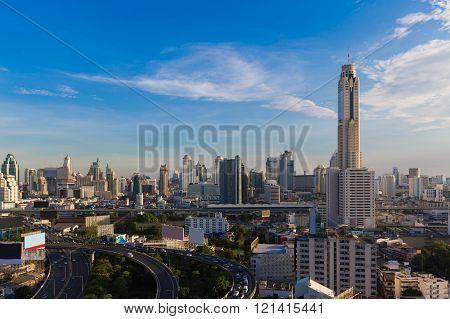 Bangkok city downtown aerial view and highway