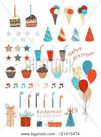 Birthday Party Design Elements.