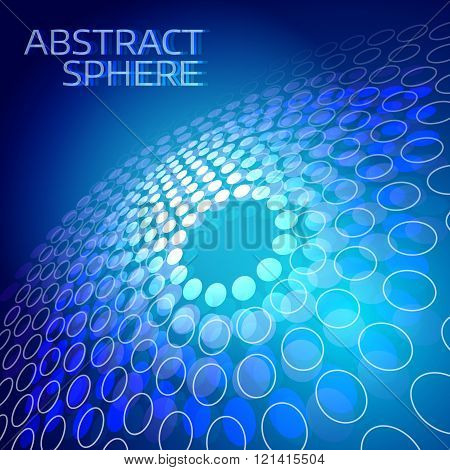 Abstract background with text template. Technology round shapes on dark blue background. Modern digital illustration for web and print design. Futuristic blue texture with splashes and circle.