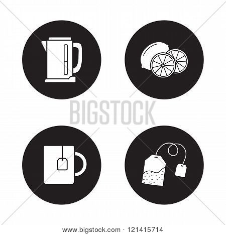 Tea icons set. Black